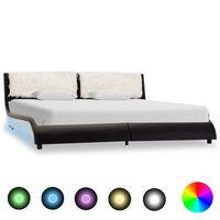 vidaXL Bedframe met LED kunstleer zwart en wit 160x200 cm
