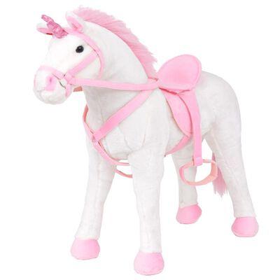 vidaXL Speelgoedeenhoorn staand XXL pluche wit en roze