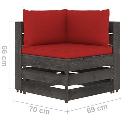 vidaXL Tuinbank 4-zits met kussens grijs geïmpregneerd hout