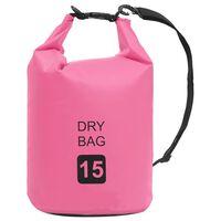 vidaXL Drybag 15 L PVC roze