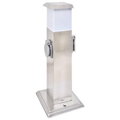 Buitenstopcontact op zuil met lamp (roestvrij staal)