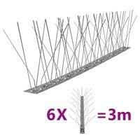 vidaXL Vogel- en duivenpinnen met 5 rijen 6 st 3 m roestvrij staal