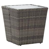 vidaXL Theetafel 41,5x41,5x43 cm poly rattan en gehard glas grijs