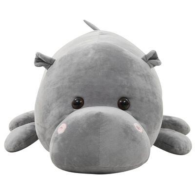 vidaXL Knuffel nijlpaard pluche grijs