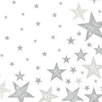 20x Kerst servetten wit/zilveren sterren 33 x 33 cm - Kerstdiner