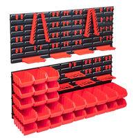vidaXL 103-delige Opslagbakkenset met wandpanelen rood en zwart