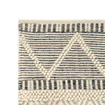 vidaXL Vloerkleed handgeweven 80x150 cm wol wit/grijs/zwart/bruin