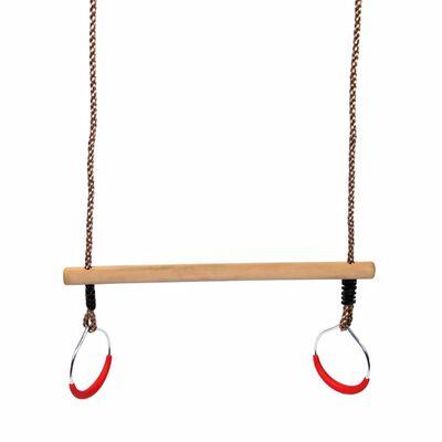 Swing King Trapeze met ringen 58 cm beige hout 2521076