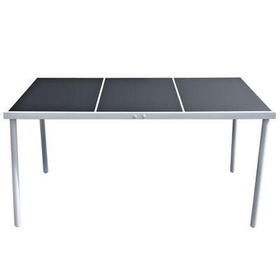 vidaXL Tuintafel 150x90x74 cm staal zwart