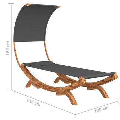 vidaXL Hangmat met luifel 100x216x162 cm massief vurenhout antraciet