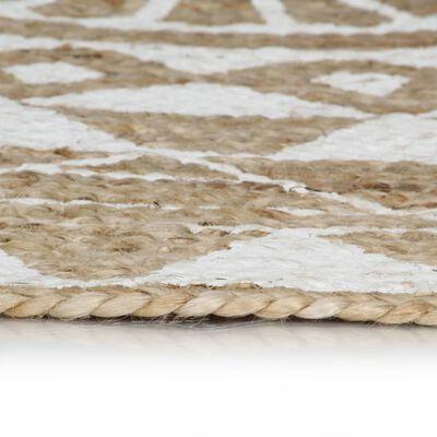 vidaXL Vloerkleed handgemaakt met witte print 120 cm jute