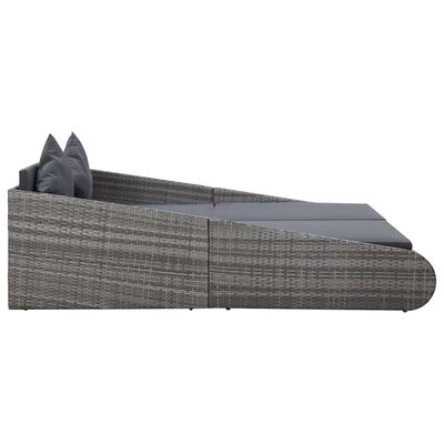 vidaXL Tuinbed 200x139 cm poly rattan grijs