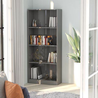 vidaXL Boekenkast met 4 schappen 60x24x142 cm spaanplaat hoogglans grijs