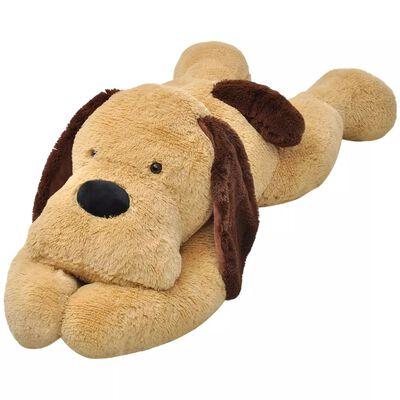 vidaXL Knuffelbeest hond 120 cm pluche bruin
