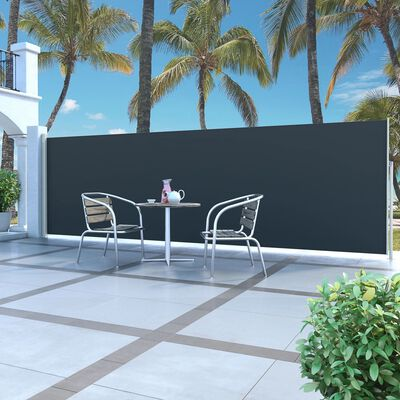 vidaXL Windscherm uittrekbaar 160x500 cm zwart