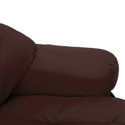 vidaXL Leunstoel met voetenbankje kunstleer en gebogen hout bruin