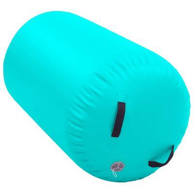 vidaXL Gymnastiekrol met pomp opblaasbaar 100x60 cm PVC groen