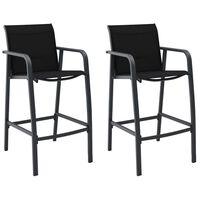 vidaXL Tuinbarstoelen 2 st textileen zwart