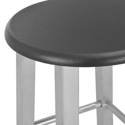 vidaXL 3-delige Barset hout en staal zwart