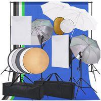 vidaXL Fotostudioset met softboxlampen paraplu's achtergrond reflector
