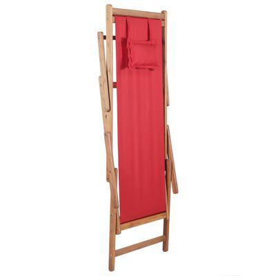 vidaXL Strandstoel inklapbaar stof en houten frame rood
