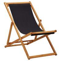 vidaXL Strandstoel inklapbaar eucalyptushout en stof zwart