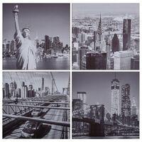 vidaXL Wandprintset New York 80x80 cm canvas meerkleurig