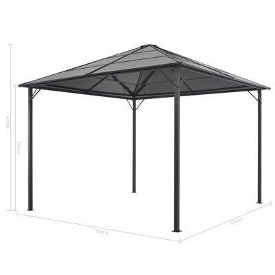 vidaXL Tuinpaviljoen met gordijn 3x3 m aluminium zwart