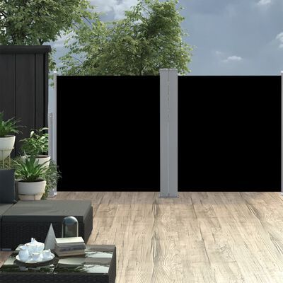 vidaXL Windscherm uittrekbaar 100x600 cm zwart
