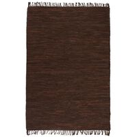 vidaXL Vloerkleed Chindi handgeweven 190x280 cm leer bruin