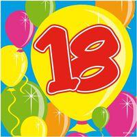 20x 18 jaar leeftijd themafeest servetten Balloons 25 x 25 cm -