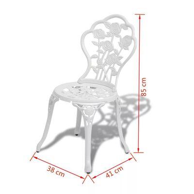vidaXL 3-delige Bistroset gietaluminium wit