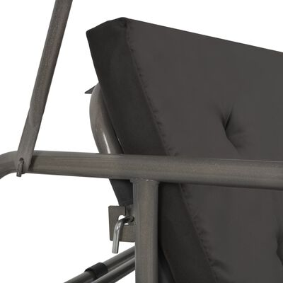 vidaXL Schommelbank voor buiten met dak 192x118x175 cm staal antraciet