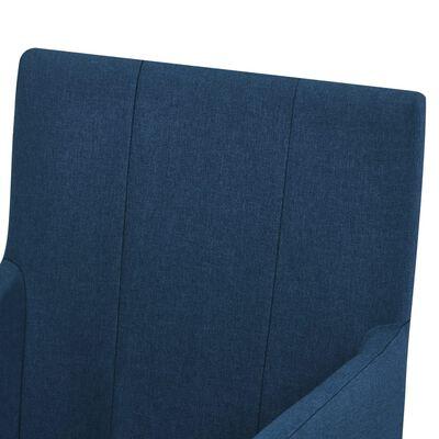 vidaXL Eetkamerstoelen met armleuningen 6 st stof blauw
