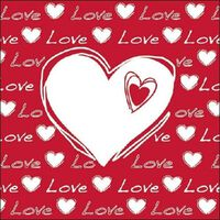 40x Hartjes servetten thema Love wit/rood 33 x 33 cm - 3-laags