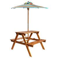 vidaXL Kinderpicknicktafel met parasol 79x90x60 cm massief acaciahout