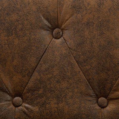 vidaXL Driezitsbank Chesterfield-stijl suède-look stoffen bekleding bruin