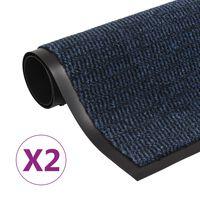 vidaXL Droogloopmatten 2 st rechthoekig getuft 80x120 cm blauw