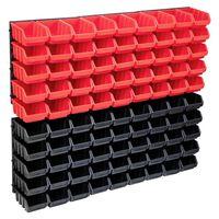 vidaXL 96-delige Opslagbakkenset met wandpanelen rood en zwart