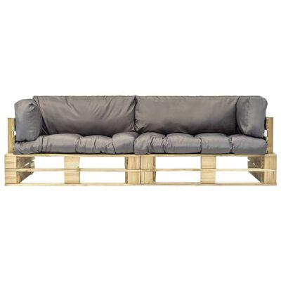 vidaXL 2-delige Loungeset pallet met grijze kussens grenenhout