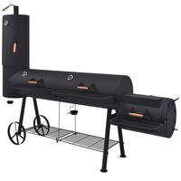 vidaXL Houtskoolbarbecue met onderplank XXXL zwart