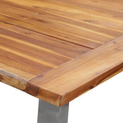 vidaXL Eettafel 180x90x75 cm massief acaciahout en roestvrij staal