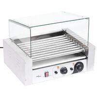 vidaXL Hotdog grill 9 rollers met glazen afdekking 1800 W