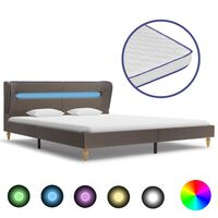 vidaXL Bed met LED en traagschuim matras stof taupe 160x200 cm