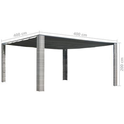 vidaXL Prieel met schuifdak 400x400x200 cm poly rattan grijs antraciet