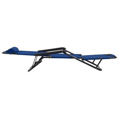 vidaXL Ligbedden inklapbaar 2 st met voetensteun staal blauw