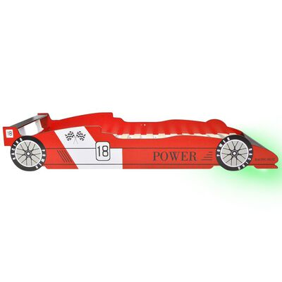 vidaXL Kinderbed raceauto met LED-verlichting rood 90x200 cm