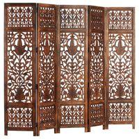vidaXL Kamerscherm 5 panelen handgesneden 200x165 cm mangohout bruin