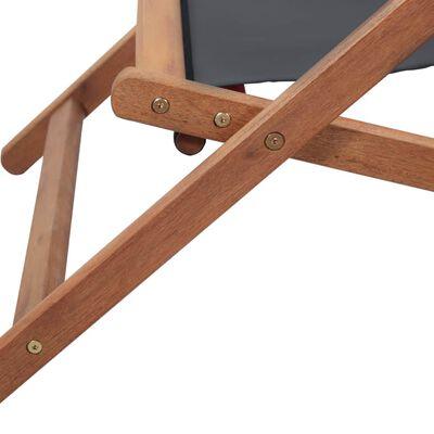 vidaXL Strandstoel inklapbaar stof en houten frame grijs
