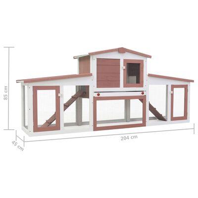 vidaXL Konijnenhok voor buiten groot 204x45x85 cm hout bruin en wit